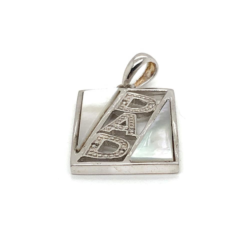 925 Silver White Stone Geometric Design Pendant With Alphabet Letter DNA