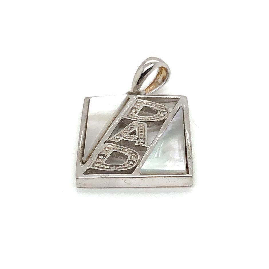 925 Silver White Stone Geometric Design Pendant With Alphabet Letter DNA