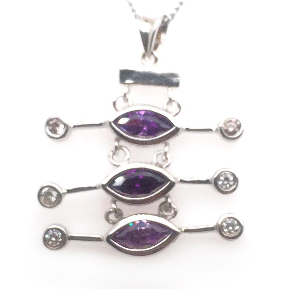 Elegant High Quality Silver Bezel Purple Gemstone Insect Natural Design Pendant