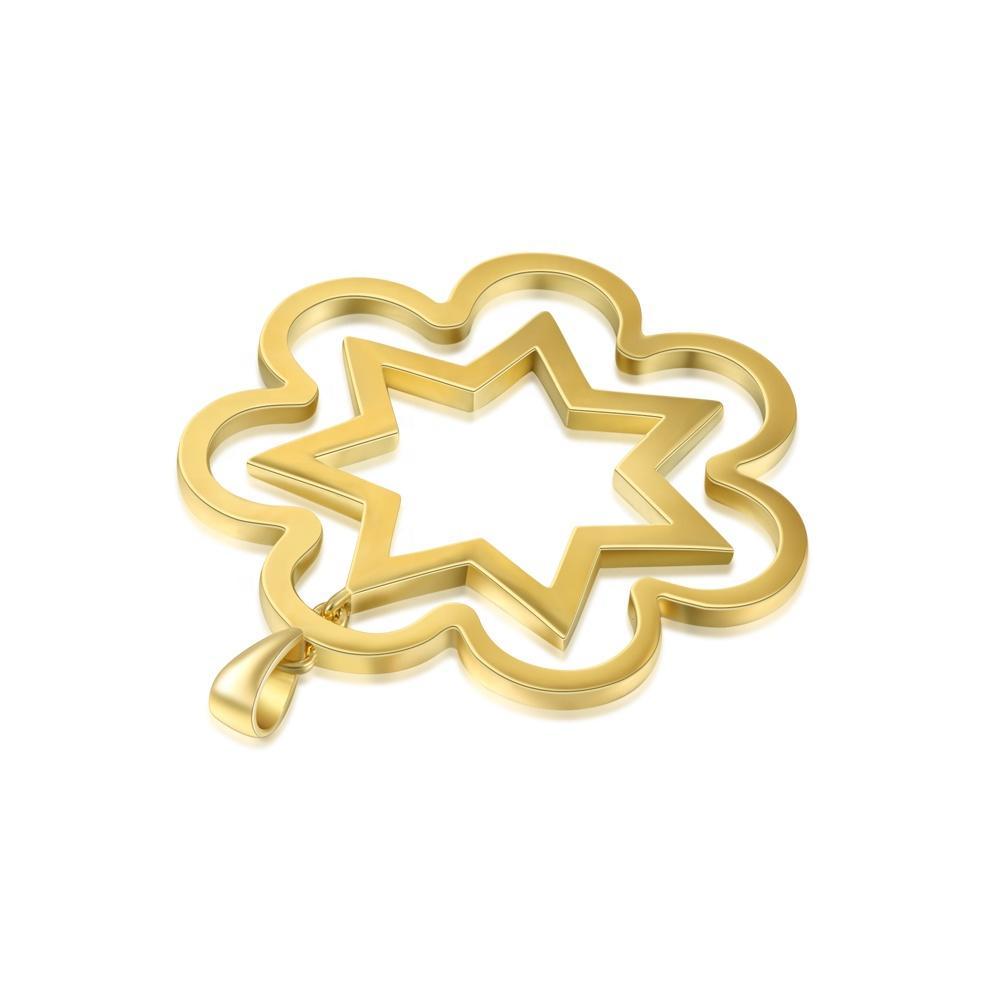Gold Sun Shape Design Silver Manly Necklace Pendant