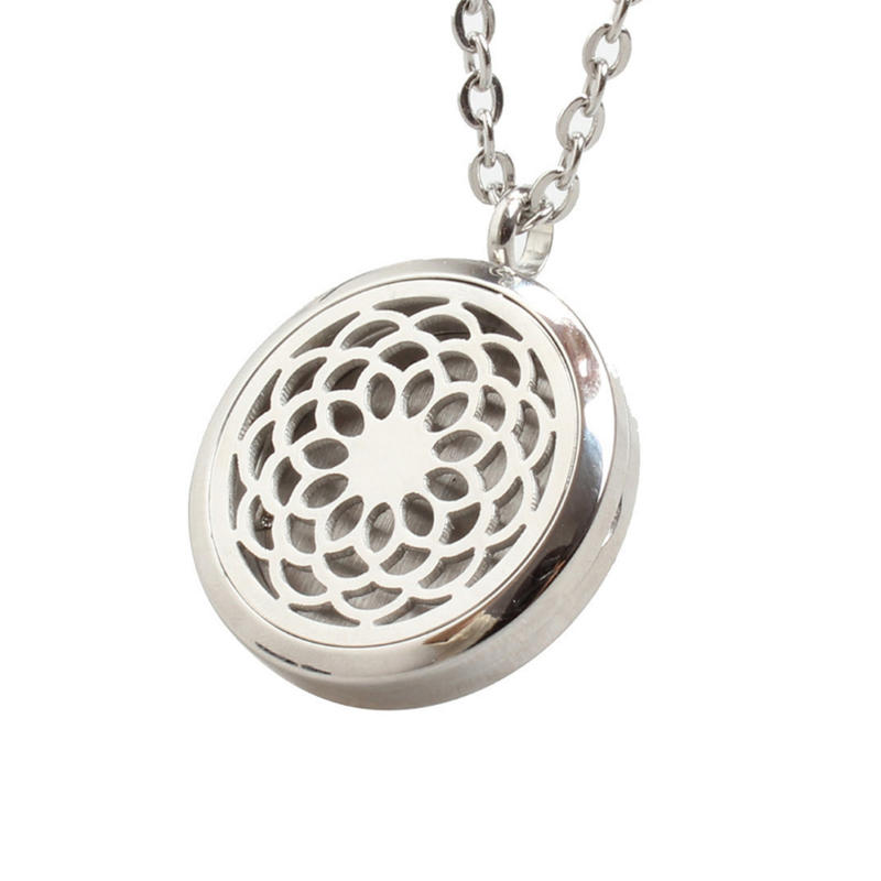 925 silver hollow flower essential oil diffuser necklace pendant