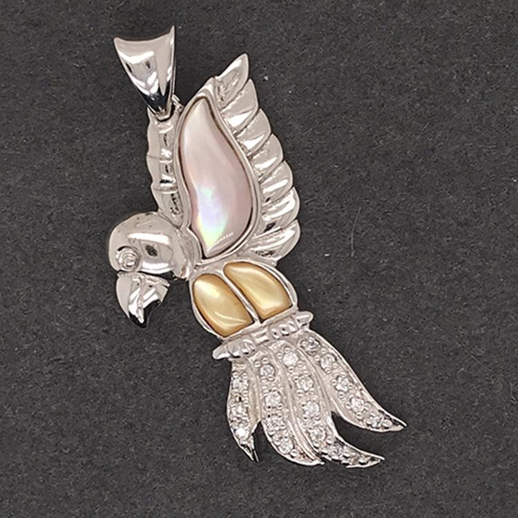 Fashion Platinum Plating Silver Handcrafted Cz Wings Parrot Bird Pendant