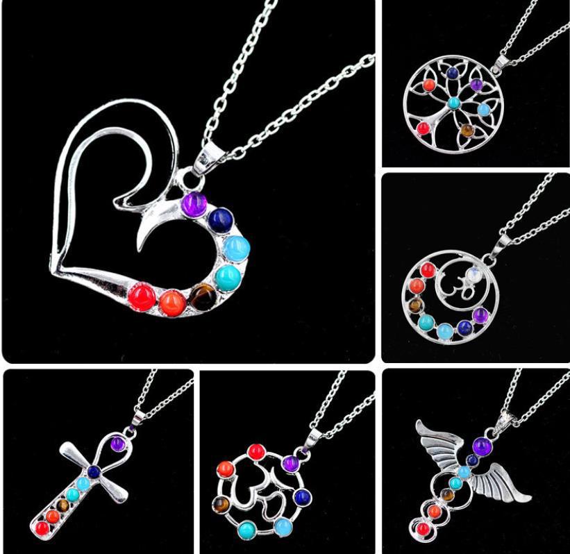 Beauty wings heart design silver bijoux 7 chakra pendant