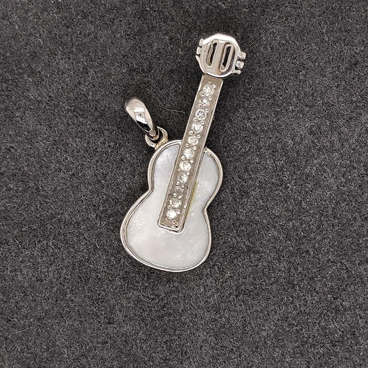 White Shell Guitar Shape Silver Cz Fashion Pendant Agate Geode Drusy Jewelry