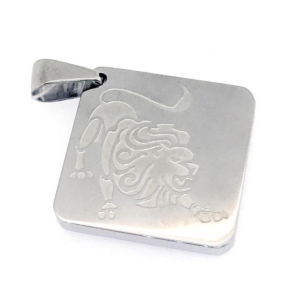Square shape stainless steel custom engraved lion pendants