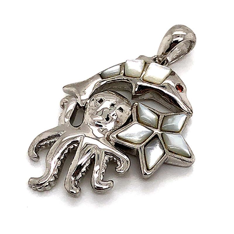 Beautiful Silver Graceful Shell Dolphin Octopus Starfish Marine Animal Charm Pendant