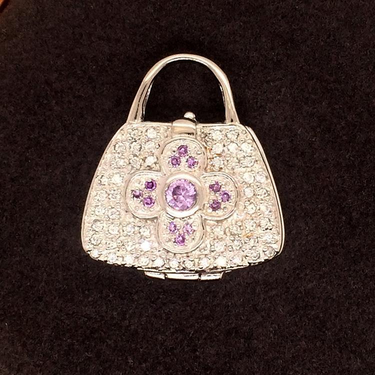 New Stylish Chic High End Pink Zircon Cross Custom Design Bag Shape Pendant