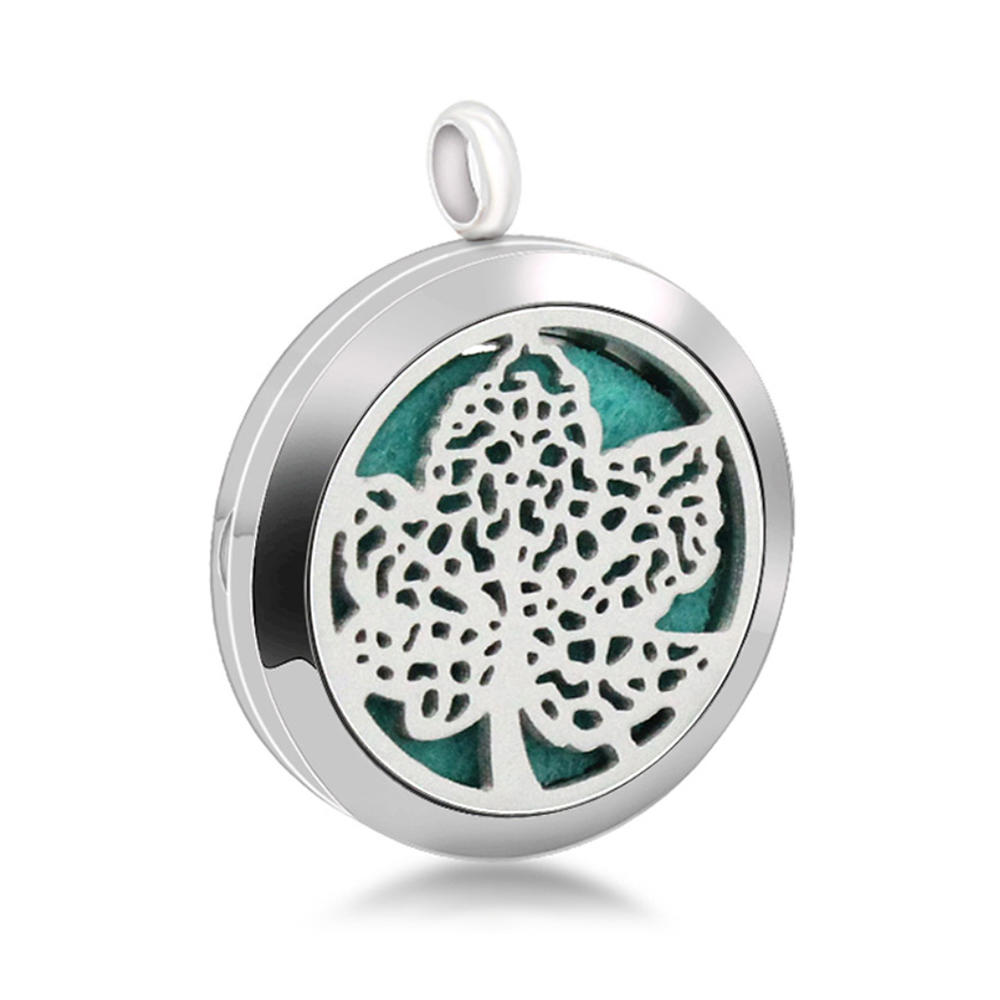 Fine Quality Maple Leaf Engraved Perfume Round Plain Pendant Locket