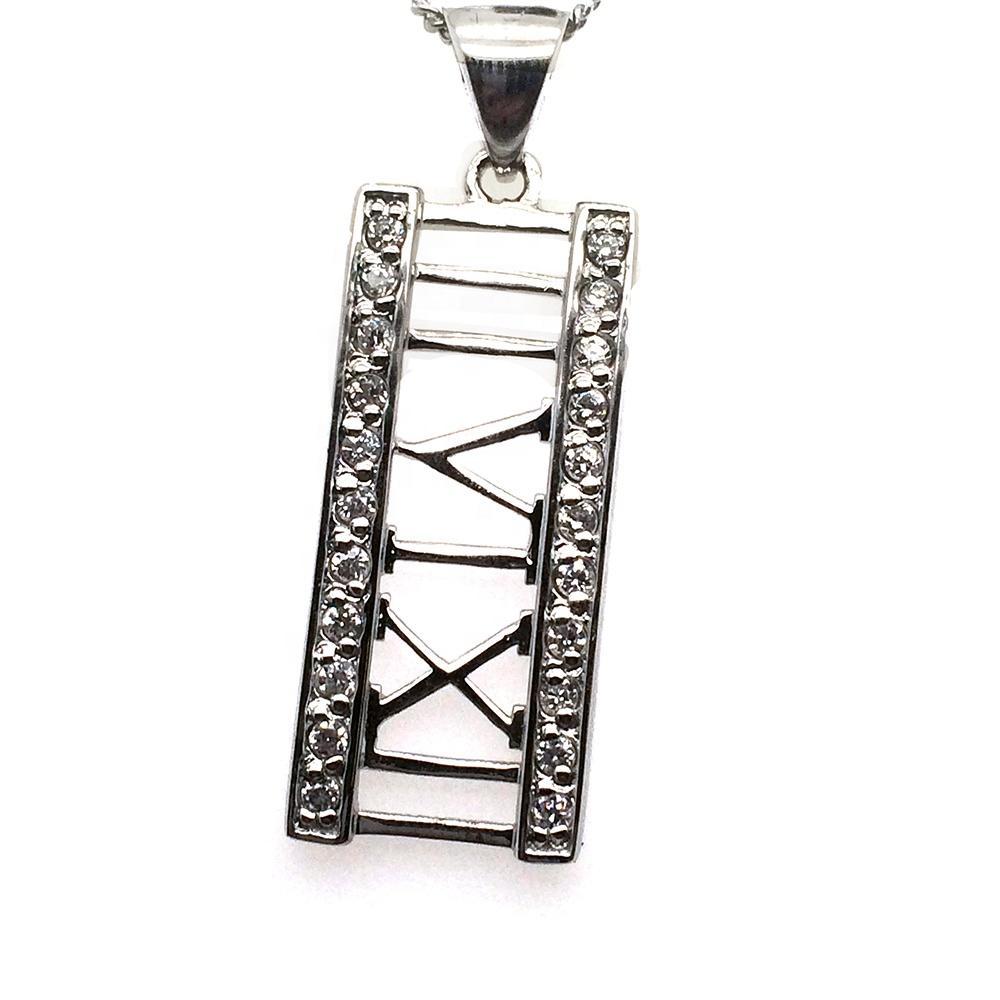 925 Sterling Silver Jewel 360 III VI XII Roman Numerals Jewelry Stone Pendant