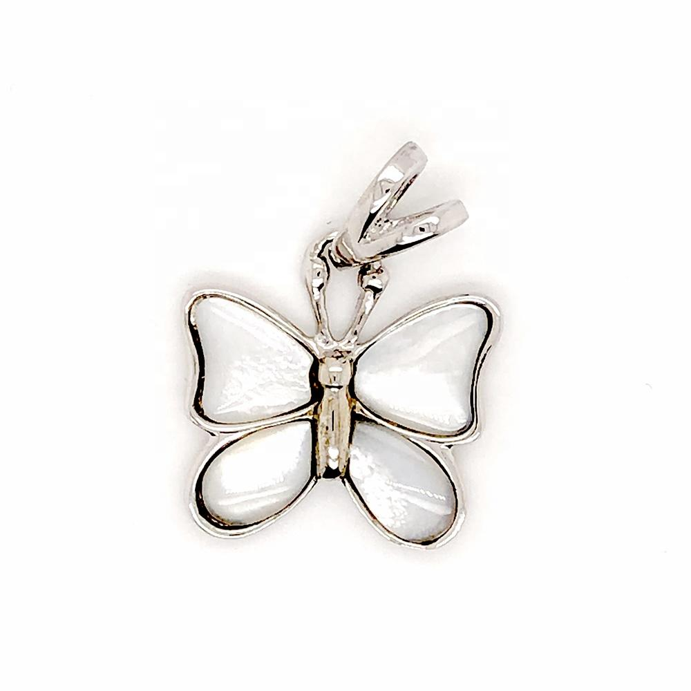 Diffuse White Pearl Oyster Butterfly Shape Mexican Sterling Silver Pendants