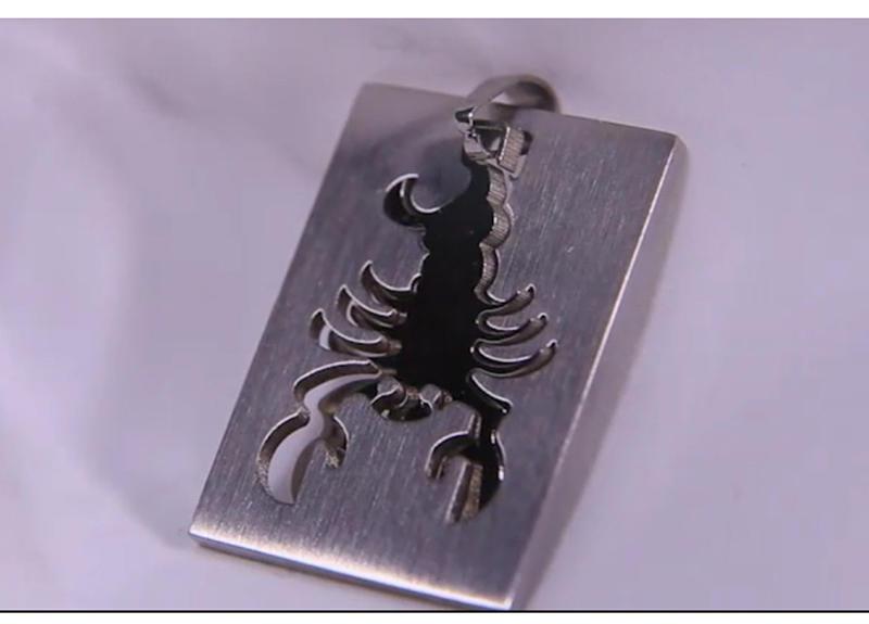 Rectangle Custom Deep Engraved Scorpion Charm Wholesale