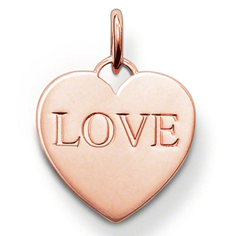 Rose gold plated love heart silver metal stamp jewellery