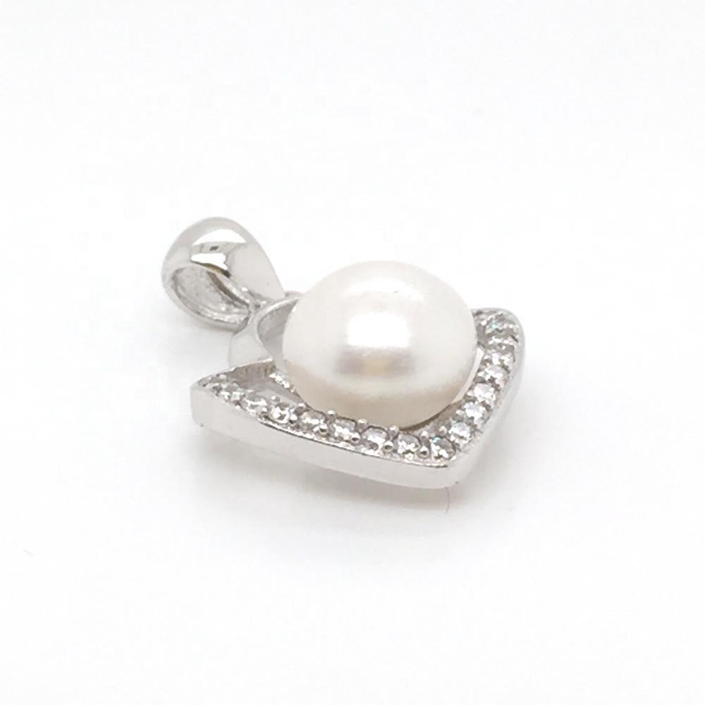 Refined Women Custom Pearl Decor Silver Cage Cz Pendant Cloud Designs