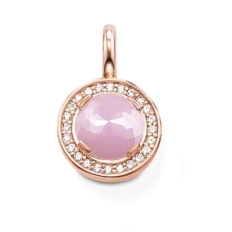 Hot Selling Round Shape Pink Stone Silver Locket Charm Pendant