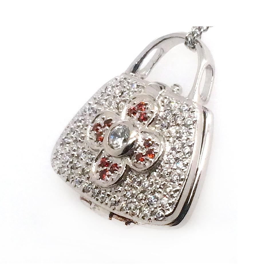 Latest Ladies Fashion 925 Sterling Silver Red Cz Four-Leaf Flower Mini Bag Pendant
