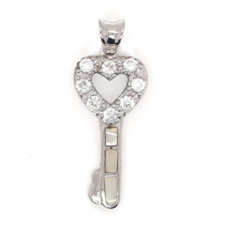 Hot Sale Cute Heart Shaped Love Clear Cz Key Shell 925 Silver Pendant