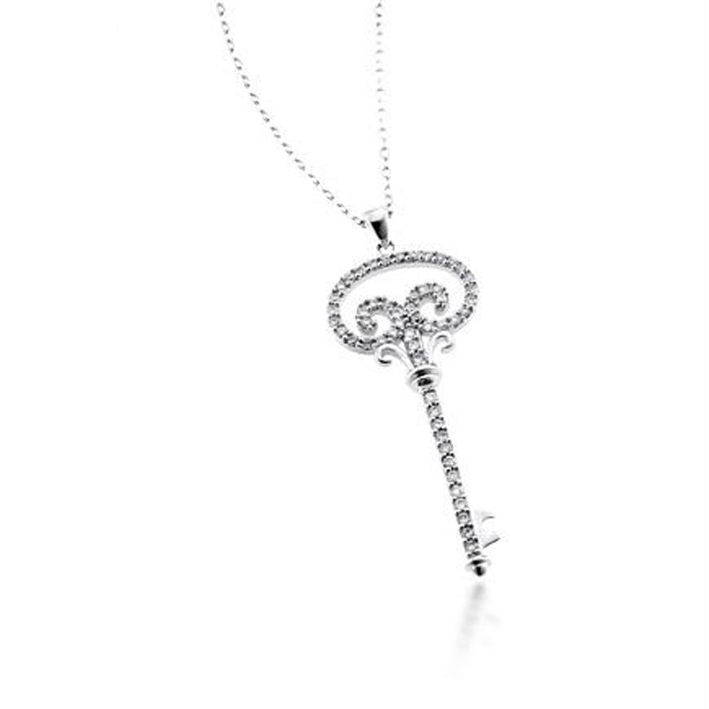 Delicate Silver Chic Lotus Key Shape Pendant Custom Metal Jewelry Tags Wholesale