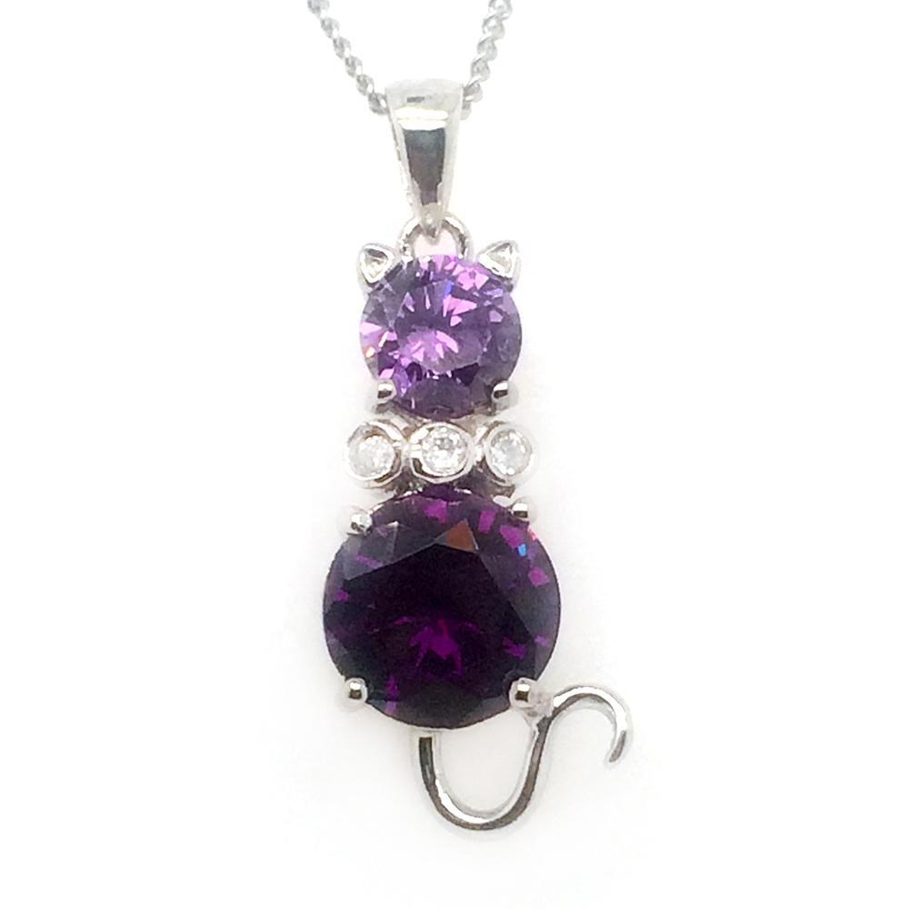 New Trendy Purple Zircon Jewelry Lady Cat Engraving Sterling Silver Pendants