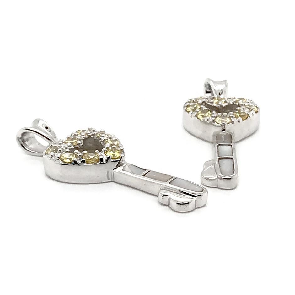 Generous Sterling Silver Gem-Studded Heart White Shell Key Shape Female Pendants