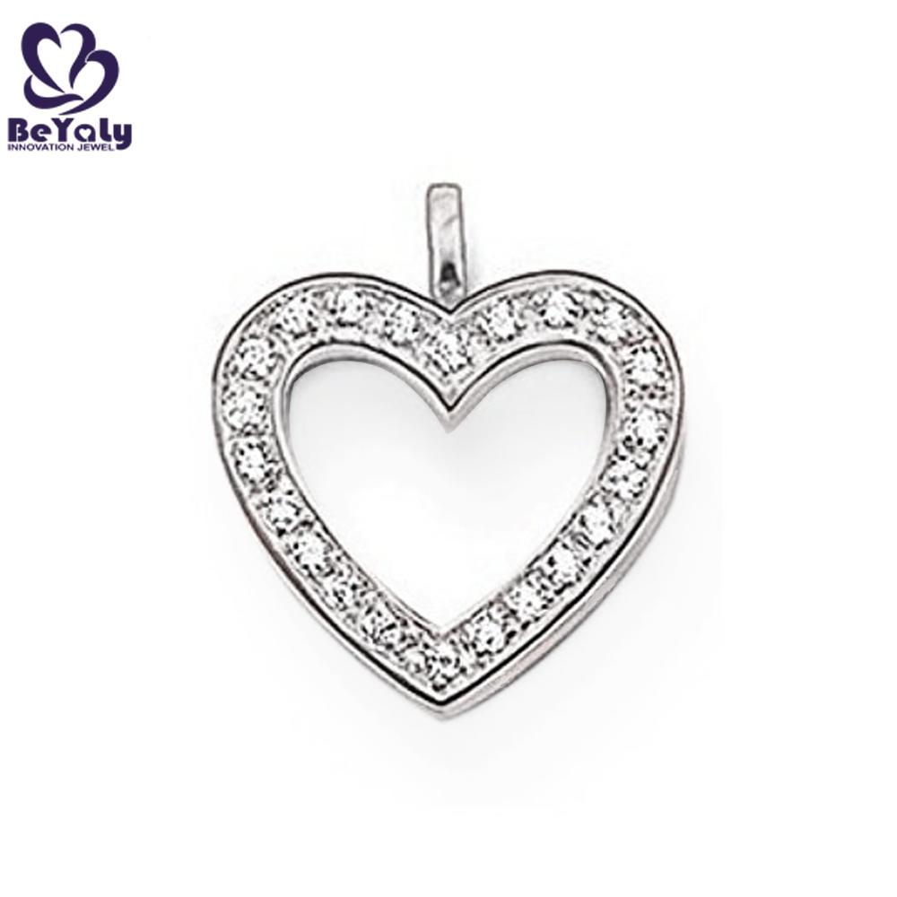 Elegant cute heart design silver white crystal lockets