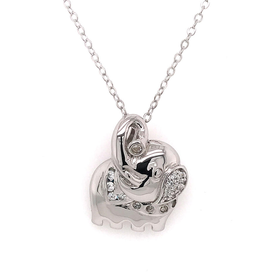 Wholesale High Quality Cute Silver Elephant Necklace Pendant Unisex
