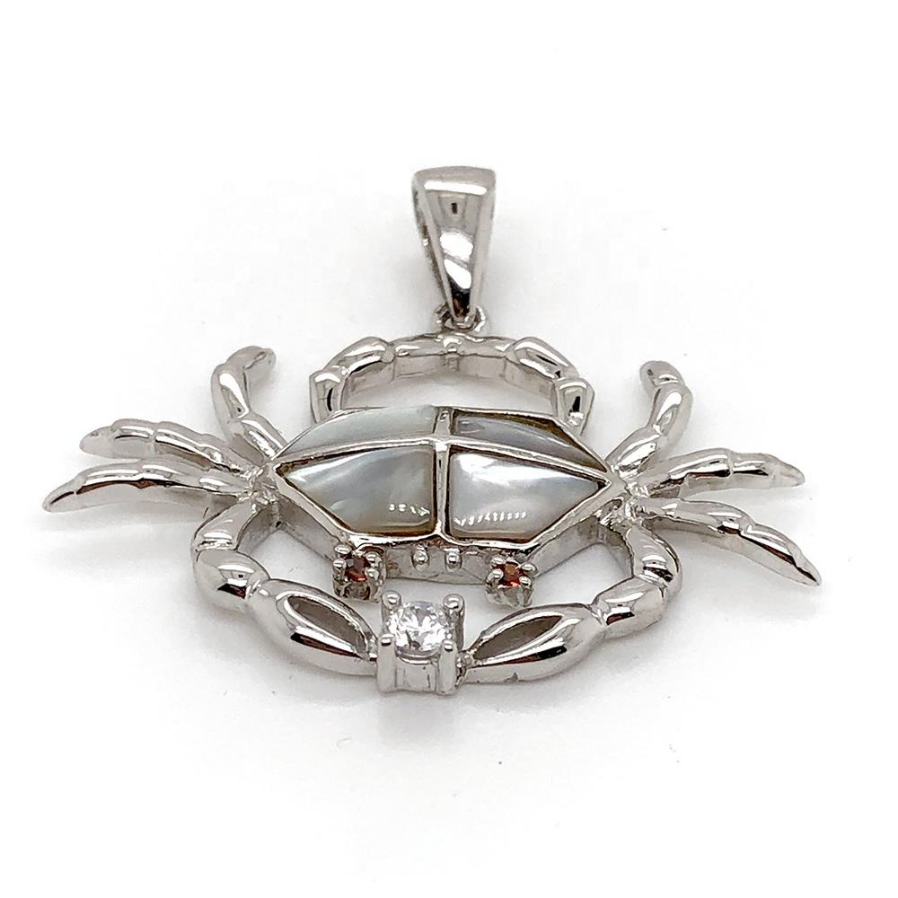 925 Silver Elegant Pretty Ladies Good Gift Cute Crab Pendant With White Pearl Oyster