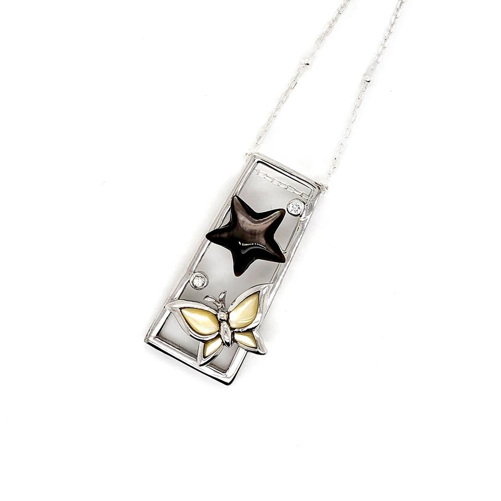 Shell Butterfly Enamel Star Designed Cz Dotted Silver Trapezoid Shape Frame Pendant