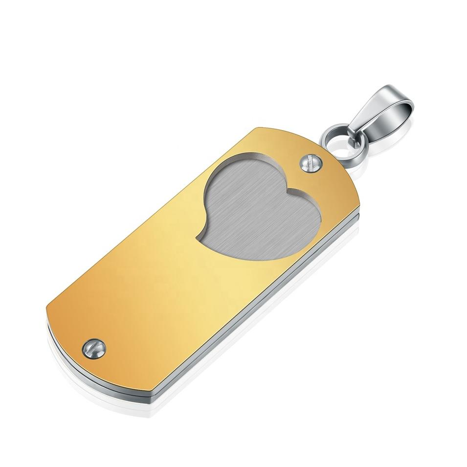 Gold Plated Stainless Steel Custom Engraved Heart Pendants