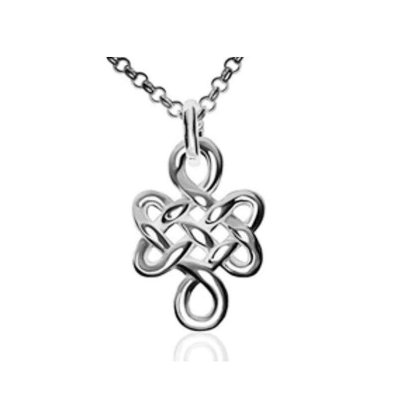 Tibetan Designer 3D Buddhist 925 silver Eternal Love Knot Necklace