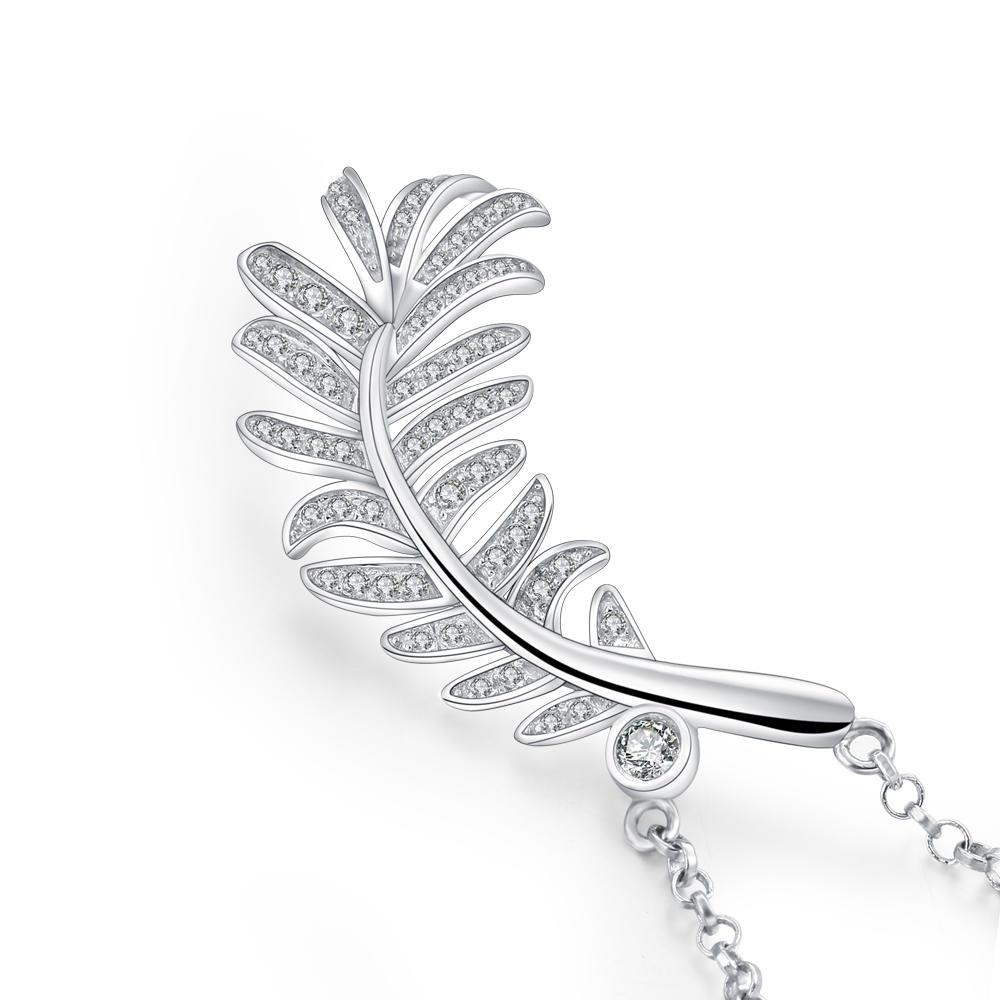 Wholesale Price Girl's Cz 925 Silver Leaf Pendant Feather Design
