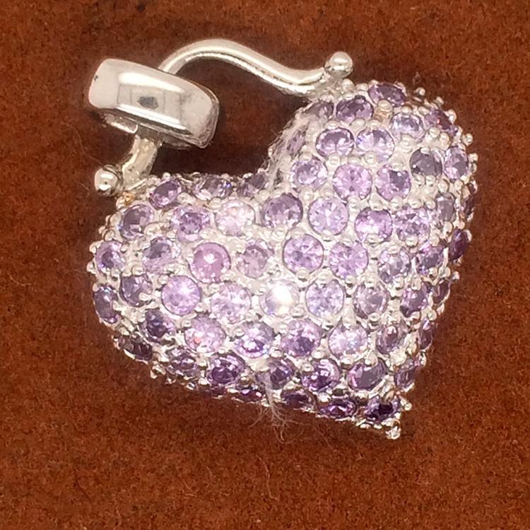 Amazing Beautiful Cute Purple Cz Heart Shape Ladies Wholesale Pendant Pave Settings