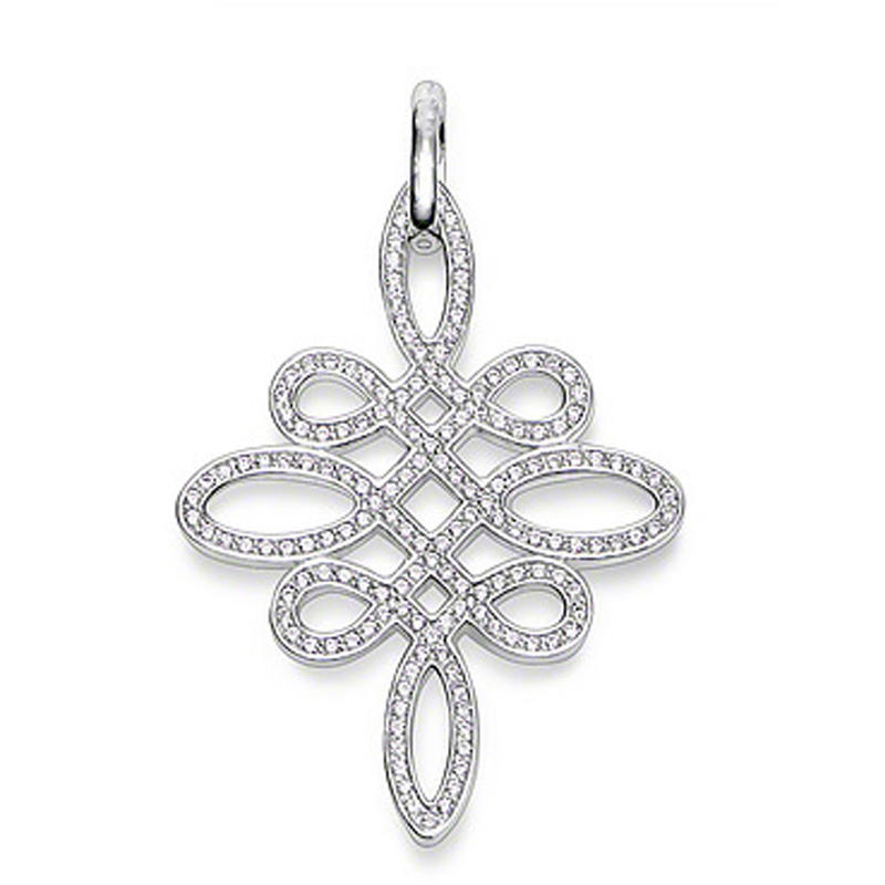 Chinese knot design silver wholesale large heart pendant