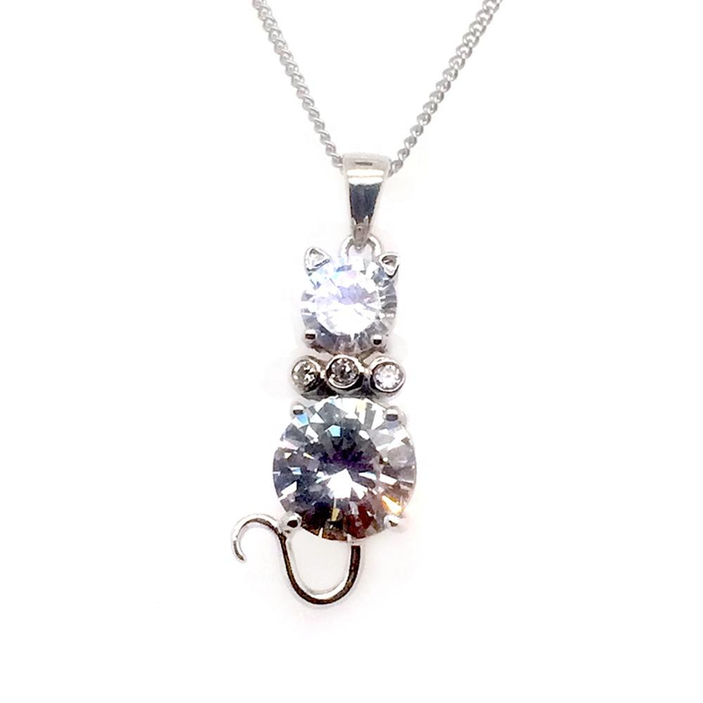 Good Costume Jewelry Silver Crystal Glass Prism Chandelier Cat Pendants