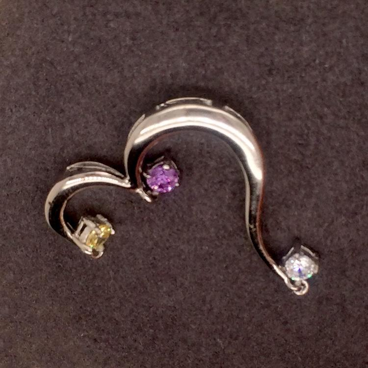 Brilliant Opening Heart Design Silver Jewelry Pendant With Three Color Zircon