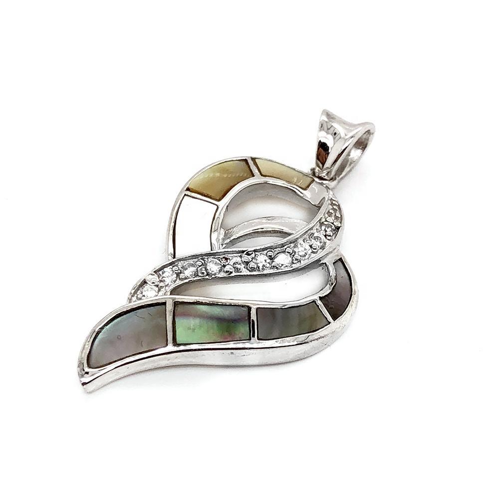 Ocean Style Heteromorphic Heart Design Colored Shell Charm Cz Pendant