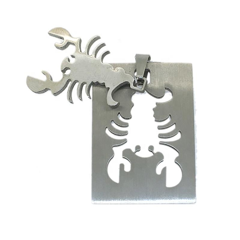 Custom Charm Rectangle-Shaped Scorpion Deep Engraved Pendant Wholesale
