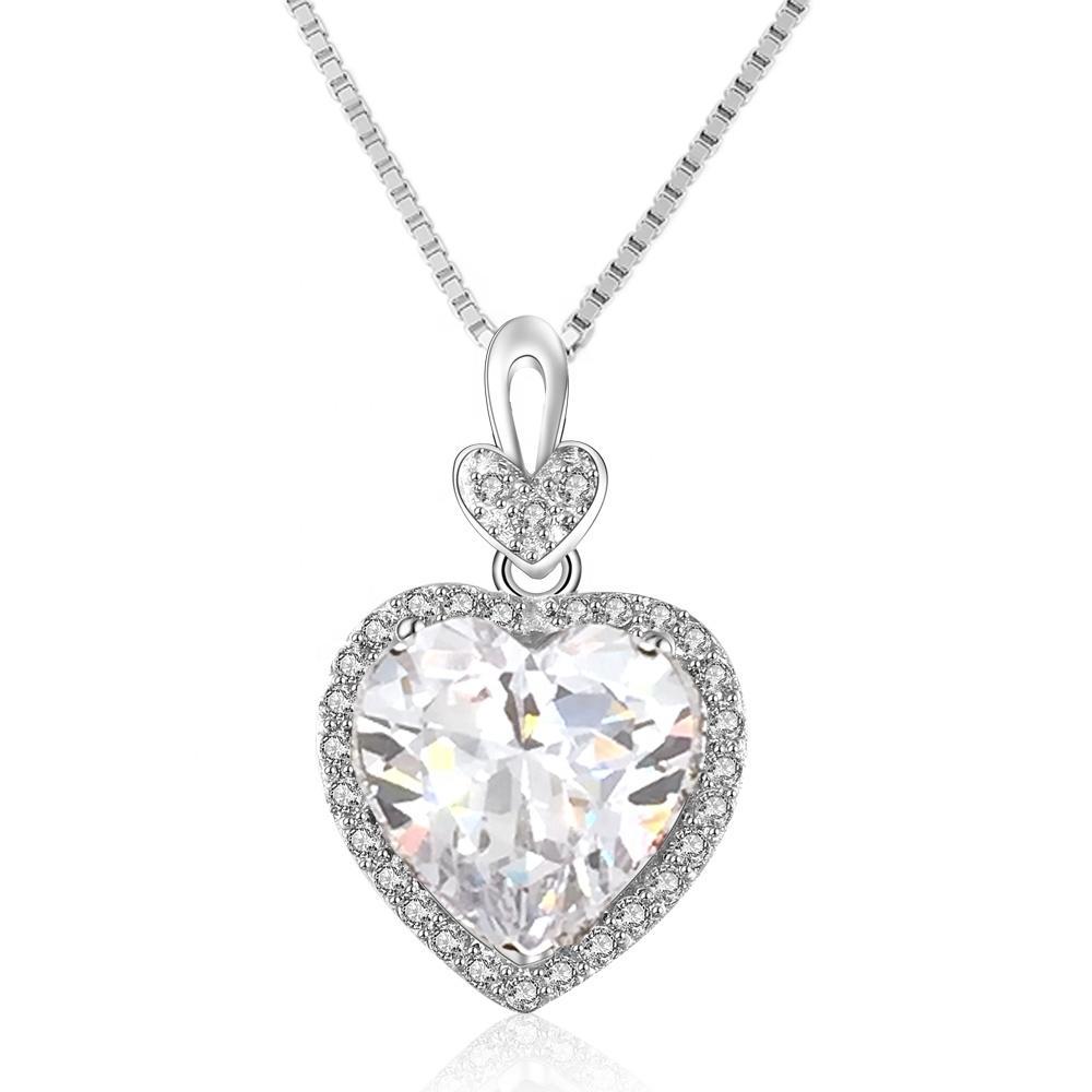 Cheap cz silver simple heart green zircon mom necklace