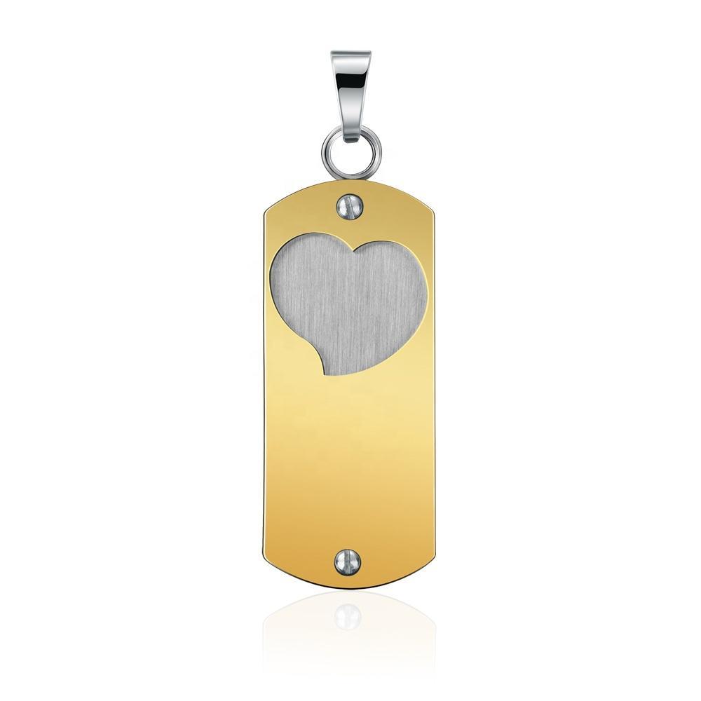 Gold Plated Stainless Steel Custom Engraved Heart Pendants