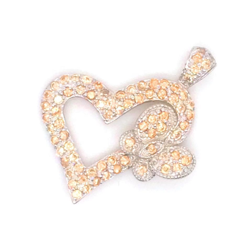 Charming Rest Butterfly Silver Bijoux Heart Shape Gold Pendant Mountings