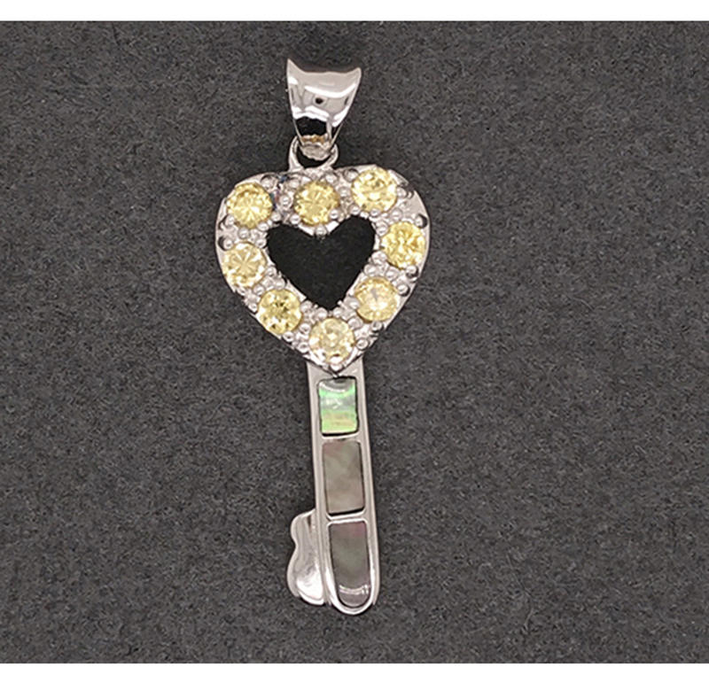 Delicate Hollow Design Cz Heart Design Shell Key Silver Custom Charm Pendant