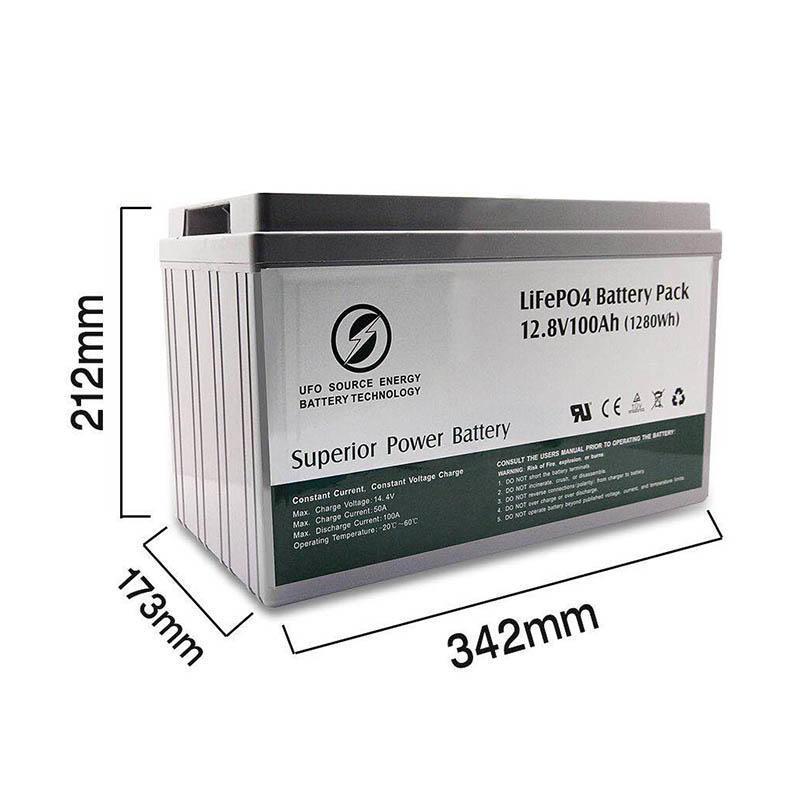 Deep cycle 12.8V 100Ah Solar Lithium BatteryLiFePO4 battery pack