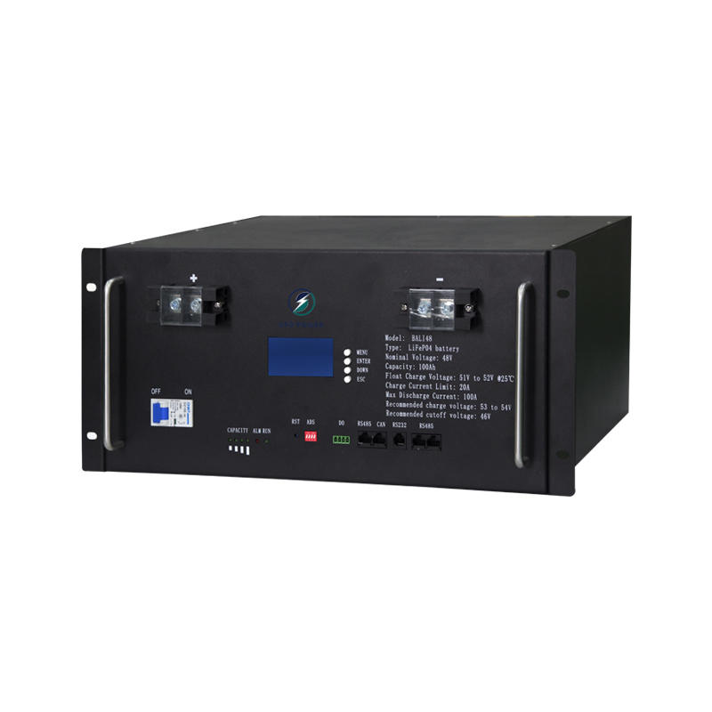 Hot sale 100Ah four-terminal lcd display energy-saving 48V rack-mounted lifepo4 lithium battery