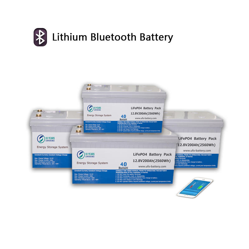 Bluetooth Lithium ion Battery Pack 12V 100Ah 200Ah LiFePO4 battery with Bluetooth support hardware& software BMS