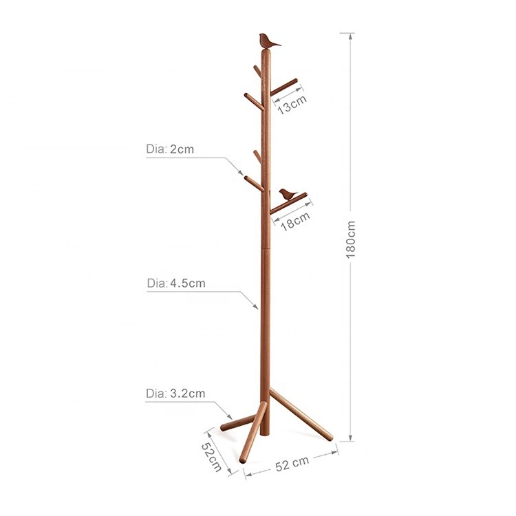 home bedroom furniture single wooden hanging hat coat clothes display rack stand