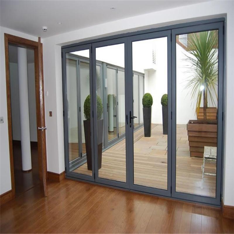 Gray 12*8 feet American style double tempered glass aluminum folding doorbifolding door