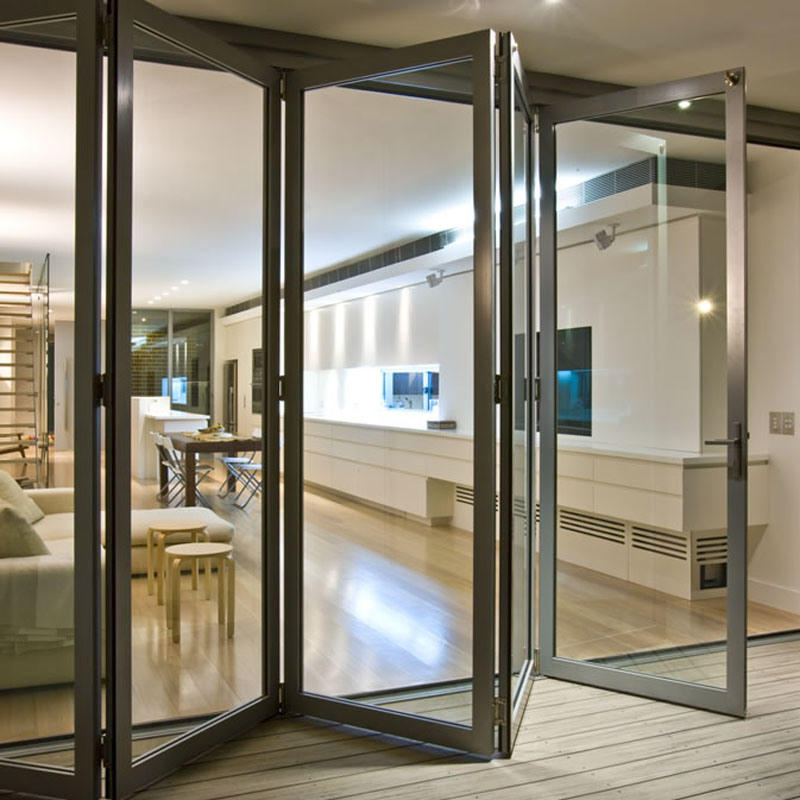 Simple design aluminum glass bi-folding door for house/commercial