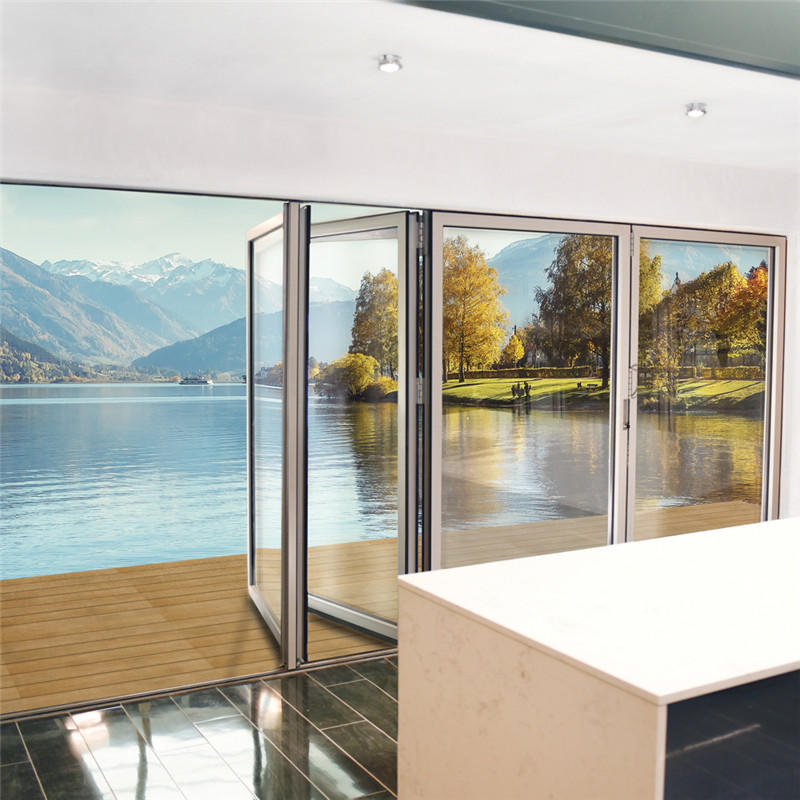 1800*2400mm Double Glazing Aluminium Soundproof Used Exterior Glass Folding Doors For Sale