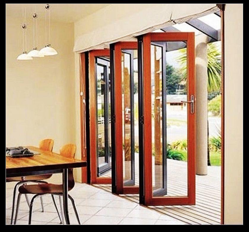 Modern Wind Resistance Toughed Glass Large Folding Doors Interior Aluminium Bi Folding Door With Exterior Door
