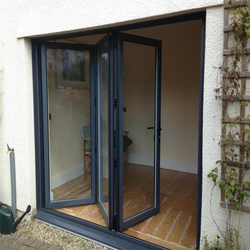 Balcony Horizontal Folding Door Interior Decorative Aluminum Frame Glass Bi-fold Door