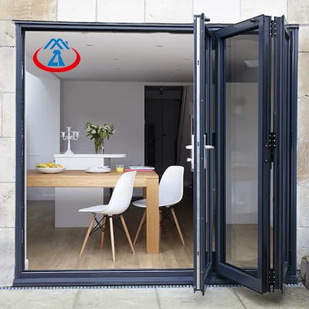Aluminum Alloy Frame Double Tempered Glass Patio Folding Door Bifolding Door System